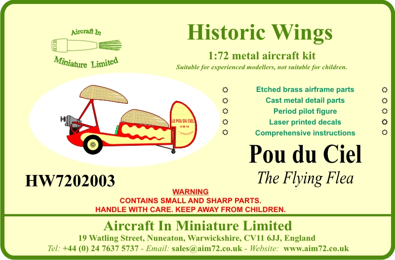 1 72 1930 Pou Du Ciel The Flying Flea Etched Brass